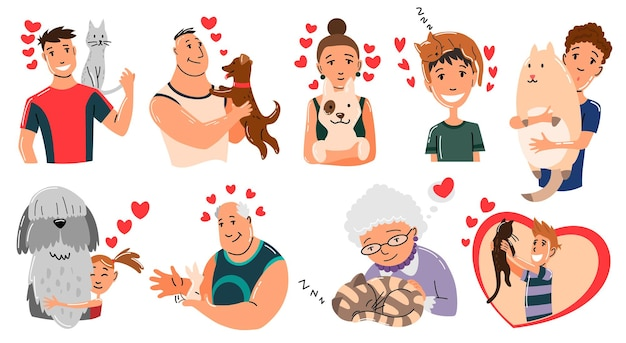 Personas y mascotas. personajes de dueños de mascotas de gatos, perros y conejos.