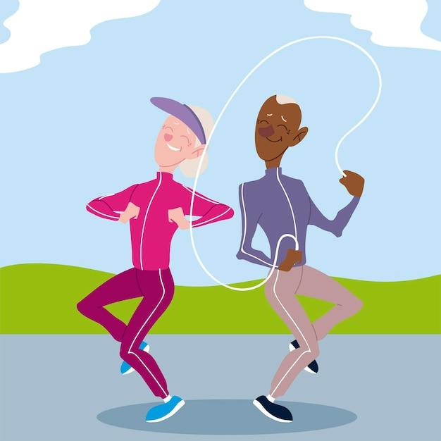 Personas mayores activas, anciano y mujer practicando ejercicio al aire libre ilustración