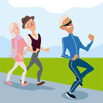 Personas mayores activas, anciano trotando y pareja de ancianos caminando ilustración