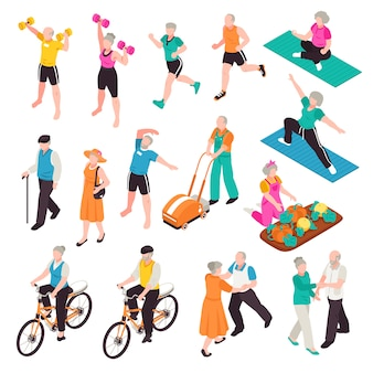 Personas mayores activas con deportes y recreación símbolos isométricos aislados