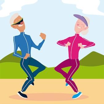 Las personas mayores activas, divertidas pareja de ancianos practicando ejercicios en el parque ilustración