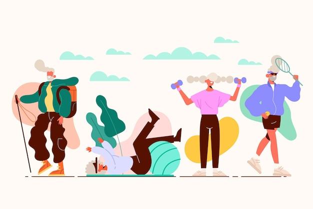 Personas mayores activas ilustradas