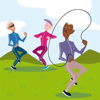 Personas mayores activas, pareja de ancianos practicando ejercicio y anciano con ilustración de saltar la cuerda