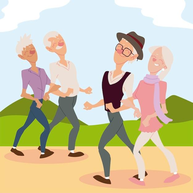 Personas mayores activas, parejas de ancianos caminando en el parque ilustración