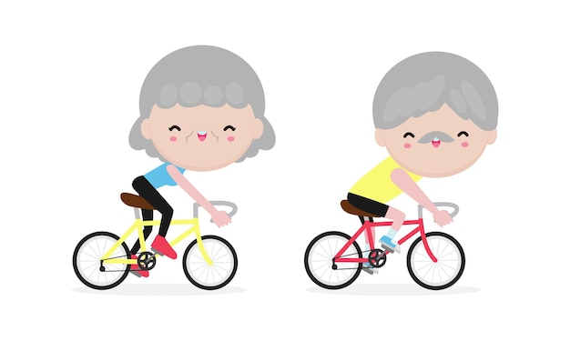 Personas mayores en bicicleta, jubilados felices. estilo de vida saludable.