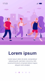 Personas mayores para correr en el parque de la ciudad. ancianos y mujeres corriendo maratón ilustración. concepto de estilo de vida y deporte para banner, sitio web o página web de destino