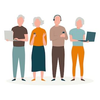 Personas mayores dibujadas a mano plana con ilustración de tecnología