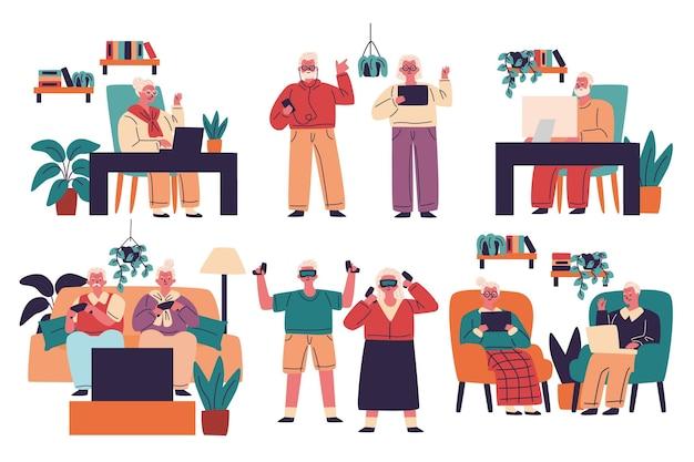 Personas mayores dibujadas a mano usando tecnología