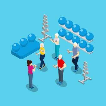 Personas mayores de ejercicios de fitness isométrica banner