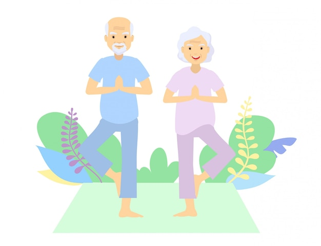 Personas mayores y gimnasia. pareja de ancianos abuelos haciendo ejercicios. deporte. ejercicio mañanero. pareja de ancianos practicando yoga ubicación al aire libre.