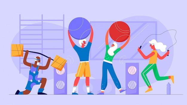 Las personas mayores hacen ejercicios en concepto de ilustración de vector de personaje plano de gimnasio