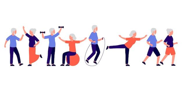 Personas mayores hombres y mujeres haciendo deporte.