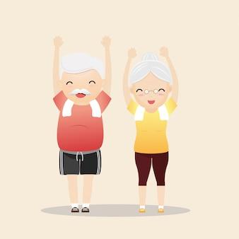 Personas mayores que ejercitan concepto.