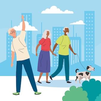 Personas mayores que realizan diferentes actividades y pasatiempos al aire libre.