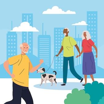 Personas mayores que realizan diferentes actividades y pasatiempos ilustración al aire libre