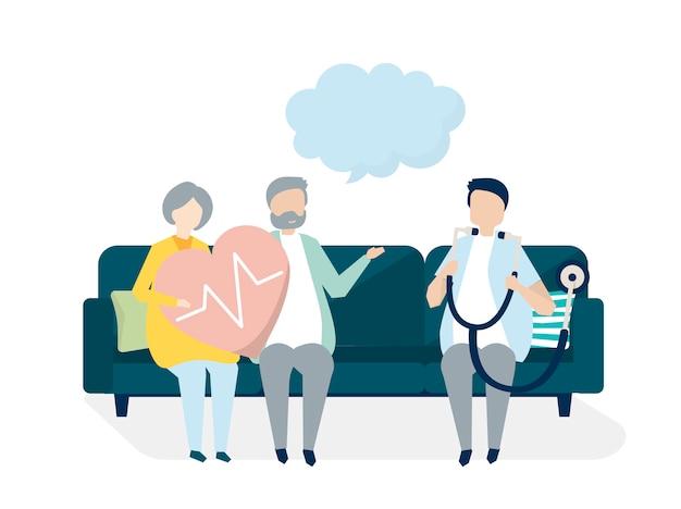 Personas mayores que reciben un chequeo en un hospital
