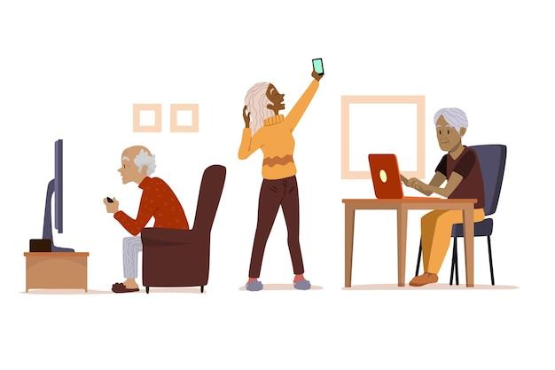 Personas mayores que usan tecnología dibujada a mano plana.