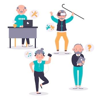 Personas mayores que utilizan tecnología s dibujados a mano plana