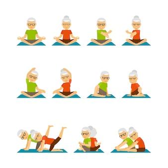 Personas mayores de yoga