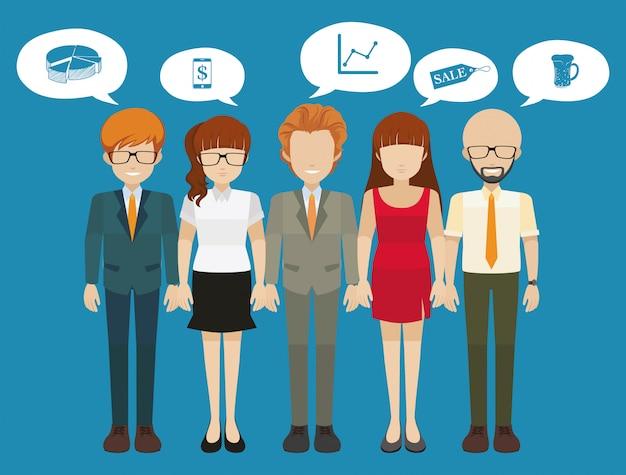 Personas con mentalidad empresarial con diferentes pensamientos.