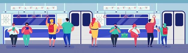 Las personas en el metro de transporte dentro del tren, el personaje de dibujos animados hombre mujer pasajero sentado, de pie en el carro