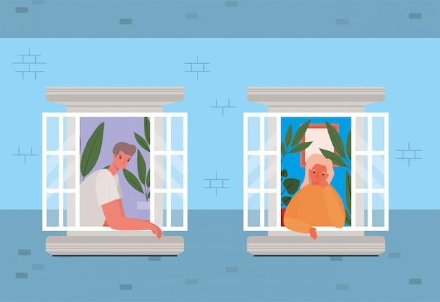 Personas mirando por las ventanas desde el diseño de la casa azul