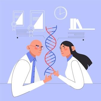 Personas con moléculas de adn en un laboratorio
