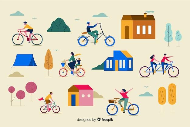 Personas montando en bicicleta por el parque