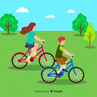 Personas montando bicicletas en el parque