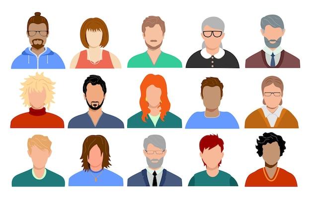 Personas multinacionales y de edades mixtas, retratos de avatares de diversos hombres y mujeres de diferentes razas.