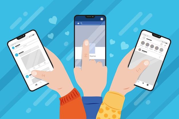 Personas navegando en sus teléfonos móviles
