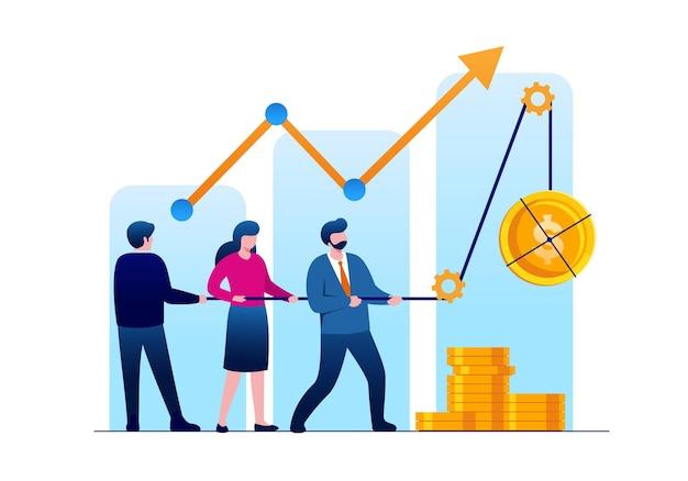 Personas con negocio objetivo. concepto de trabajo en equipo. ilustración vectorial plana