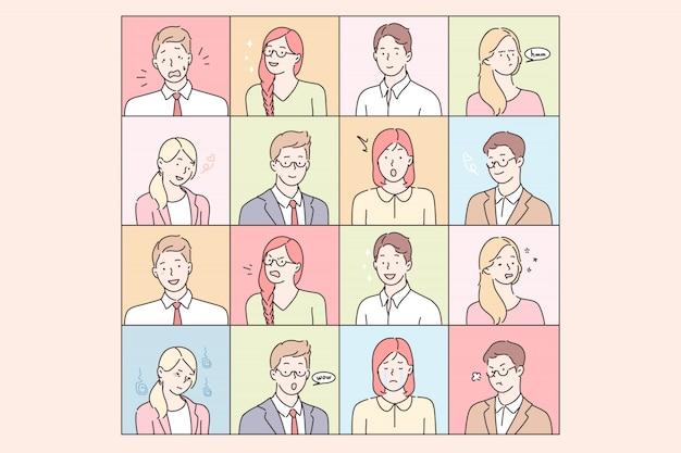 Las personas de negocios emociones y expresiones faciales establecen concepto