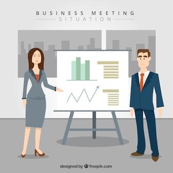 Personas de negocios con estadísticas