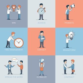 Personas de negocios planos lineales y situaciones de objetos. concepto de promoción de marketing empresarial. gana, logra, promueve, gestión del tiempo, contacto, apretón de manos, lluvia de ideas, haz correr la voz.