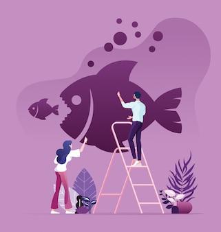 Las personas de negocios que dibujan peces grandes comen peces pequeños en la pared