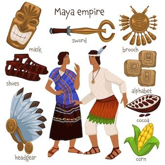Personas y objetos del período del imperio maya. hombre y mujer vestidos con ropas tradicionales. espada dorada y alfabeto, antifaz y zapatos, maíz y cacao, tocados, sombreros nacionales. vector en estilo plano
