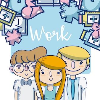 Las personas y las ocupaciones de trabajo lindos dibujos animados