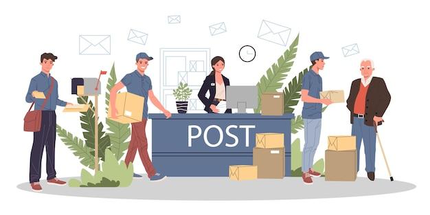 Personas en la oficina de correos que reciben paquetes y correos