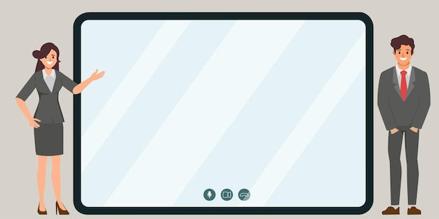 Personas de la oficina de negocios que presentan con monitor de pantalla para comunicarse en línea