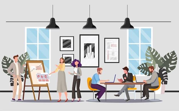 Personas en la oficina s. colegas discutiendo el proyecto. compañeros de trabajo hablando cerca del rotafolio. empresarios en el lugar de trabajo. espacio abierto de coworking. team building, trabajo en equipo, idea de lluvia de ideas