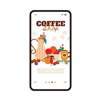 Personas en la página de incorporación de cafetería acogedora, ilustración vectorial de dibujos animados plana