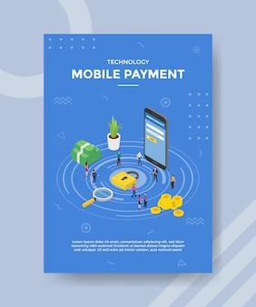 Personas de pago móvil de tecnología de pie cerca de teléfono inteligente de dinero de candado para plantilla de banner