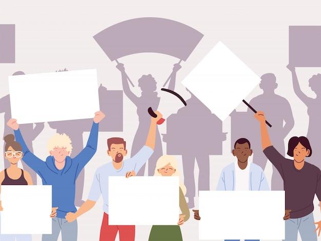 Las personas con pancartas y carteles están protestando, la gente levantó el puño y los carteles de protesta