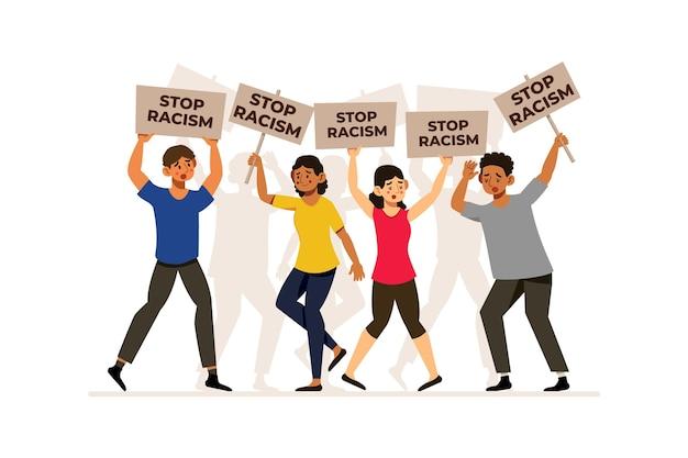 Las personas con pancartas detienen el concepto de racismo