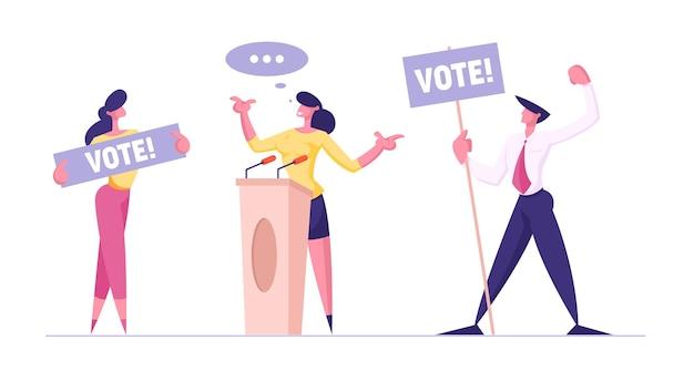 Personas con pancartas de voto para personajes de candidatas a oradora ciudadana respetuosa de la ley