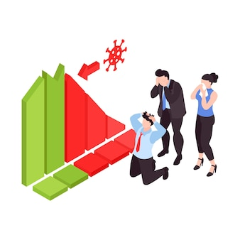 Personas en pánico viendo el gráfico que representa la caída del mercado de valores durante la crisis financiera de covid19 isométrica