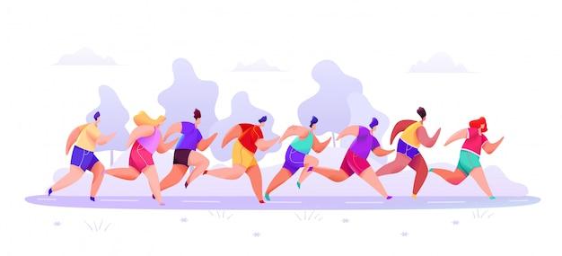 Las personas en pantalones cortos y camisetas de ropa deportiva corren maratón a lo largo de la carretera en un bosque abstracto