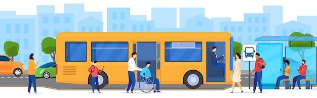 Personas en la parada de autobús, pasajero discapacitado en silla de ruedas, ilustración