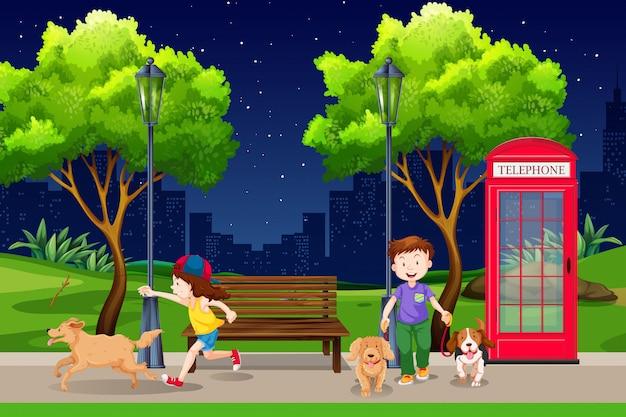 Personas en el parque por la noche.